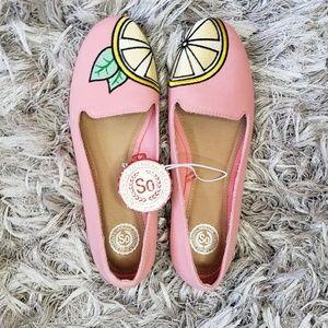 NWT SO Pink Lemon Slip On Ballet Flats